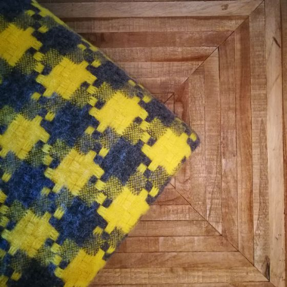 Jigsaw Grey & Yellow Wool Blanket / Throw